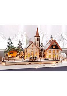 Рождественская деревня из дерева со светодиодной подсветкой