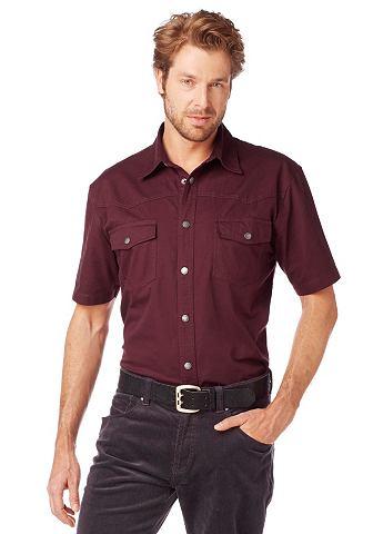 Arizona, джинсовая рубашка ARIZONA. Цвет: бордовый