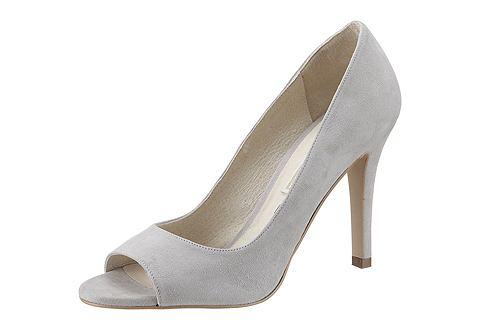 Кожаные туфли с открытым на высоком каблуке Buffalo LondonТуфли с открытым носком Buffalo London. Выполнены из замши. Имеют внутреннюю отделку из кожи, синтетическую подошву, каблук высотой 90 мм.<br><br>color: светло-серый<br>gender: female<br>material: leder