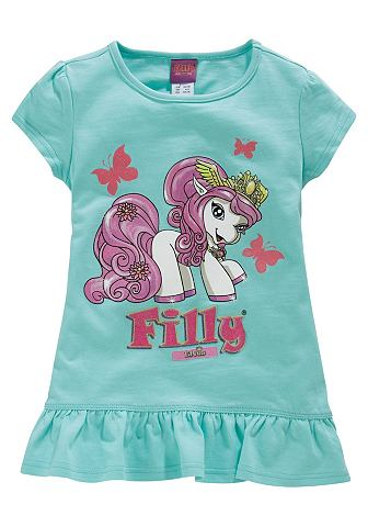 Длинная футболка с рюшами Unicorn для девочек, Filly. Цвет: цвет мяты