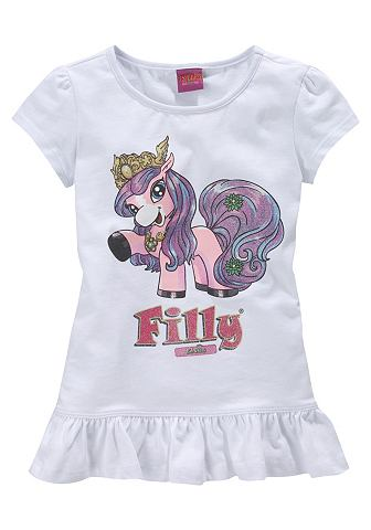 Filly, кофточка с оборками «Unicorn», для девочек FILLY. Цвет: белый