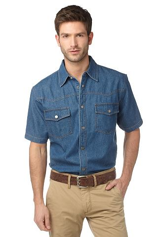 Arizona, джинсовая рубашка ARIZONA. Цвет: синий «варёный»