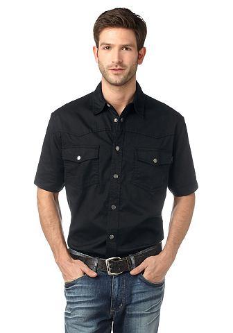 Arizona, джинсовая рубашка ARIZONA. Цвет: чёрный