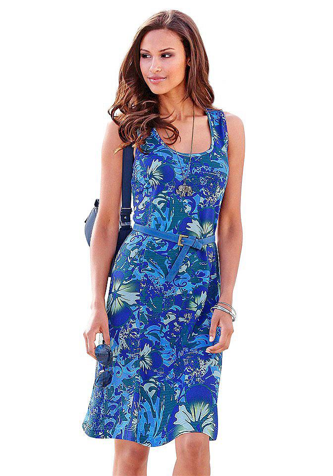 Пестрое синее платье