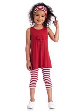 Kidoki, платье, леггинсы и лента для волос (комплект из 3 предметов), для девочек