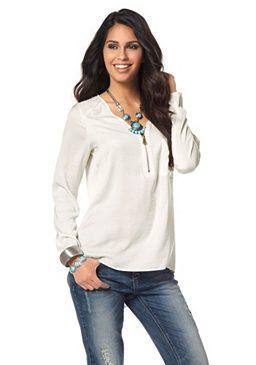 Блуза из сатина с молнией у выреза Laura Scott